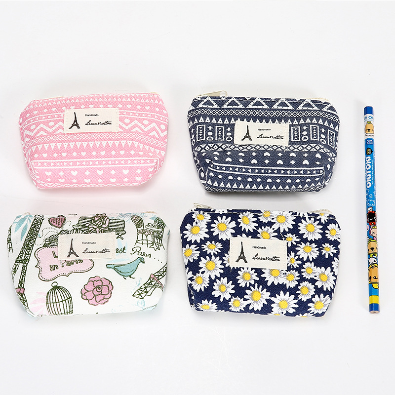 0376 Fabric Wallet Small Retro Zero Cotton Linen Fresh Pastoral Style Women's Printed Bag Earphone Bag Cylindrical Package
