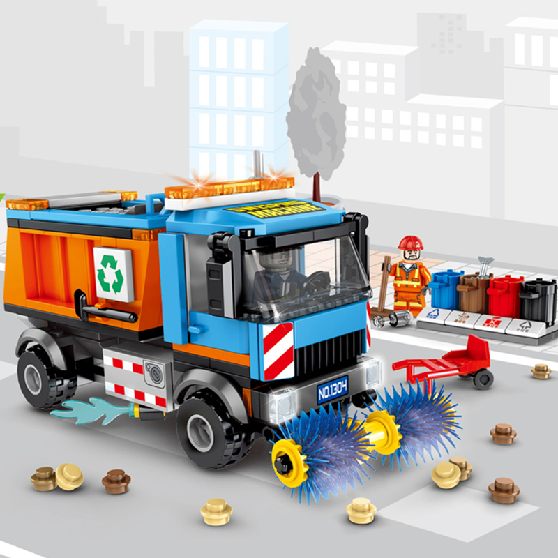 City Construction Vehicles Sweeper Cleaning Car Garbage Truck Garbage Classification Building Blocks Sets Kits Kids Compatible