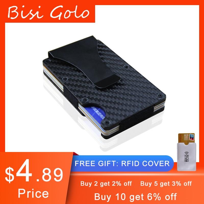 Bisi Goro 2020 углеродное волокно кредитный держатель для карт минималистичный Мини Кошелек Алюминиевый металлический RFID блокирующий бизнес-бан...