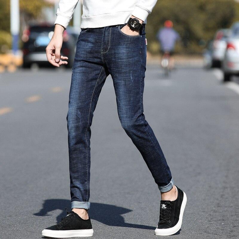 Jeans Men's Autumn And Winter Popular Brand Loose Straight Trousers Men Elasticity Slim Fit Capri Pants BOY'S Korean-style Autum