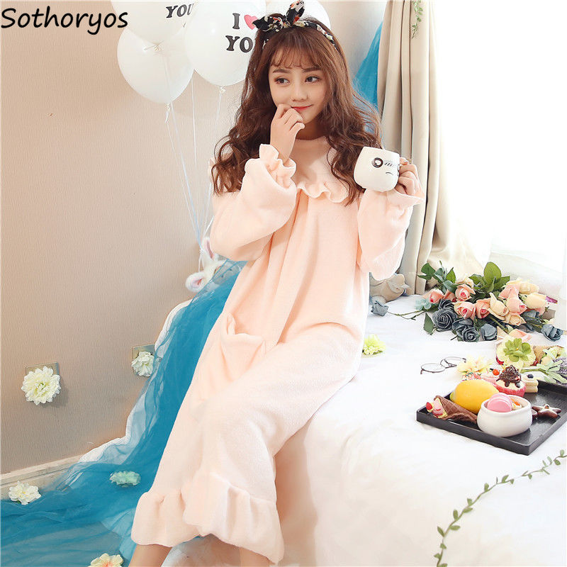 Nightgowns Women Leisure Coral Fleece Soft Warm Comfortable Solid Kawaii Korean Style Daily O-neck Elegant Thickening Womens