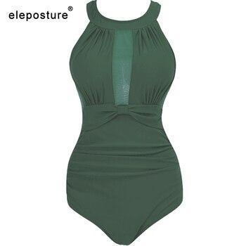 2020 New Sexy One Piece Swimsuit Women Mesh Patchwork Bathing Suits Vintage Swimwear Summer Beach Wear Swim Suit Plus Size M-4XL 20