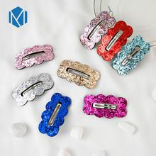 M MISM 2019 New Children Sequin BB Hair Clips Barrettes Cute Girls Headwear Gold Silver Hairpins Party Accessories
