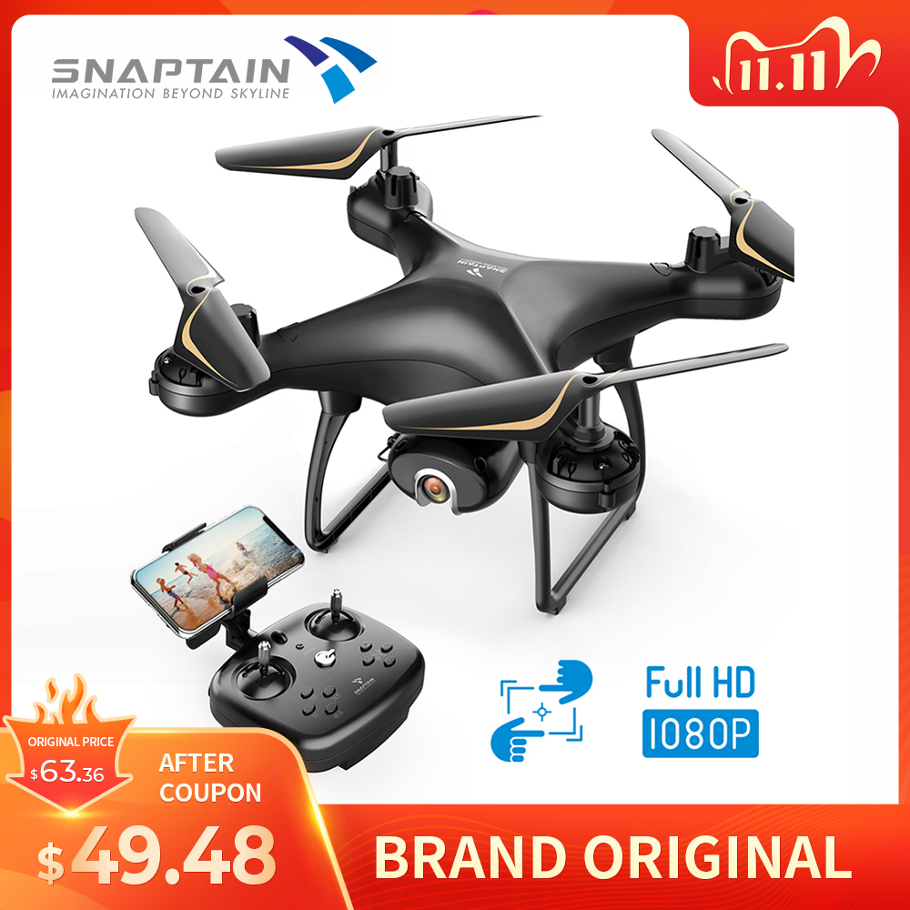 SNAPTAIN Drone with Camera 1080P HD Live Video Camera Drone w Voice Control Gesture Control Circle Fly High-Speed Rotation