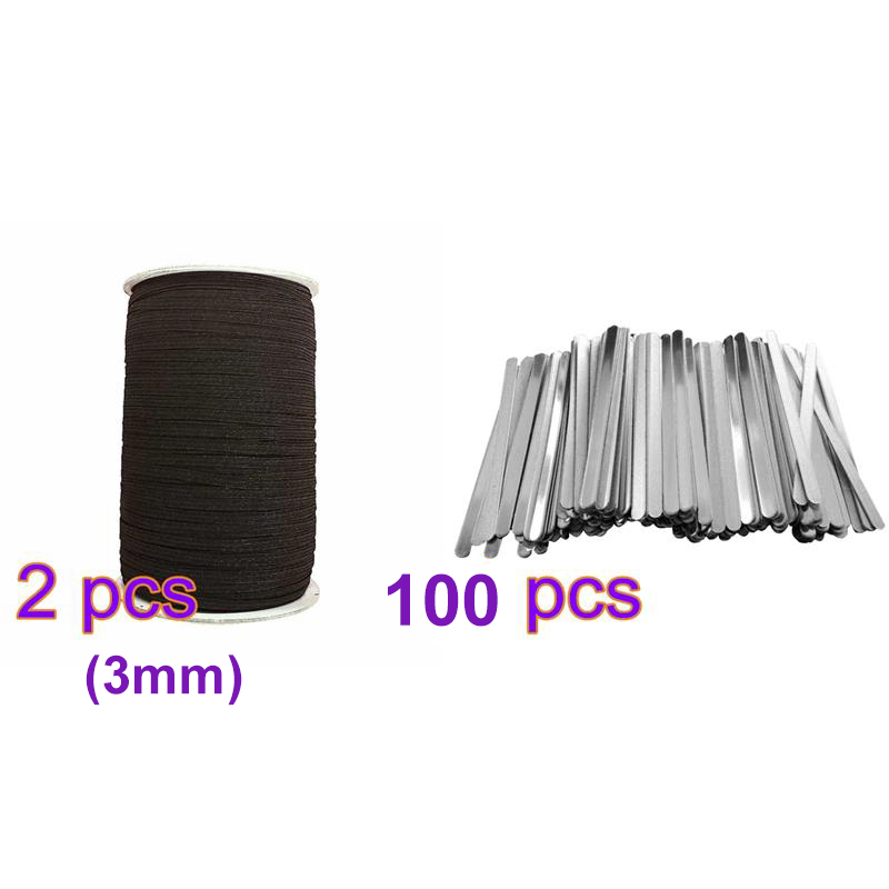 100PCS DIY Aluminum Nose Bridge Strip With 100 Yards 1/8 Inch Earloop Cord For Nose Bridge Band Clip Crafts Making Accessory