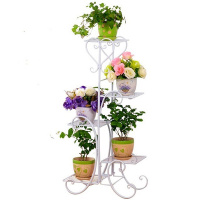 Flower Shelf Indoor Green Balcony Balcony Flower Stand Iron Hanging Orchid Rack Rack Living Room Floor Simple Flower Pot Stand|Plant Shelves| |  -