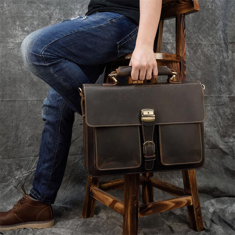 H40519085c824476e986b6cbbcfdcb503z MAHEU Luxury Fashion 100% Genuine Leather Men Briefcase Cow Leather Laptop Bag Vintage Shoulder Bag Real Cowhide Computer Bag