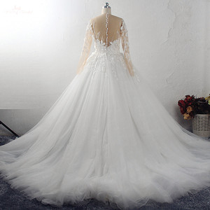 Image 3 - RSW1549 Robe De Mariee Illusion Back Buttones Flower Dress Princess Full Sleeves Wedding Gowns