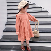 DFXD 2-7Y Toddler Kids Baby Girl Spring Autumn Dress Ruffles Long Sleeve Solid Cotton Linen Party Casual Dress Kids Clothes New zogaa vintage striped women long dress ruffles linen blue elegant summer dress 2019 casual dress cotton female beach vestidos