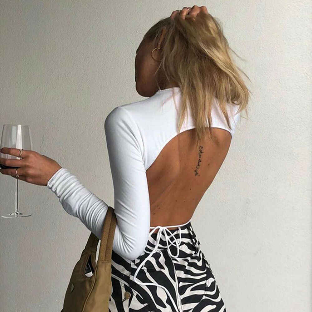 Frauen Sexy Harajuku Open Back T-shirt Langarm Top Cropped Tops Frauen T-shirt Sommer Casual Tops Weiß Mode T-shirt 2019