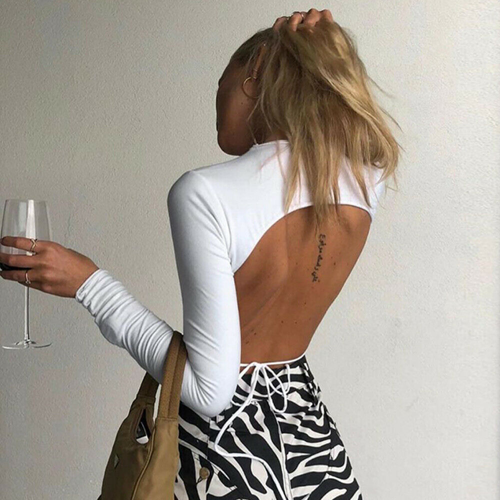 Women Sexy Harajuku Open Back T-shirt Long Sleeve Top Cropped Tops Women T-shirt Summer Casual Tops White Fashion T-shirt 2019