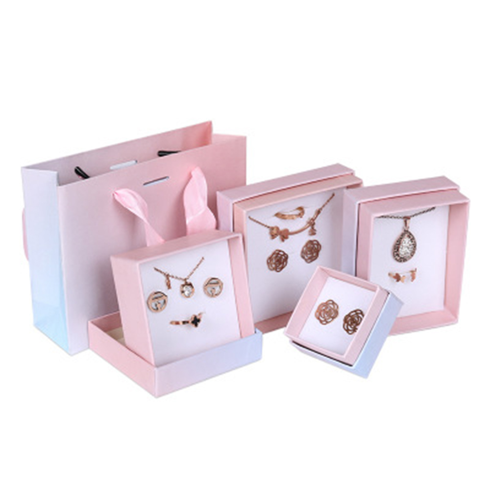 Jewelry Box Handmde Paper Kraft Cardboard Case Cookies Cake Soap Packaging Wedding Ring Earring Gift Christmas New Year Present