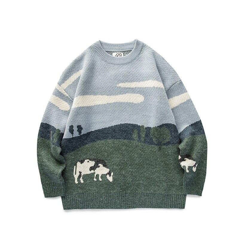 Jovens vacas vintage inverno suéteres 2020 pulôver dos homens o pescoço coreano fashions camisola feminina casual harajuku roupas