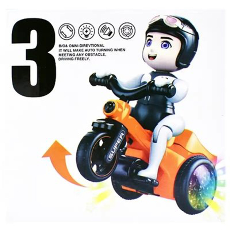Douyin Celebrity Style Electric Tricycle Sound And Light Stunt Online Celebrity Figurine Motorcycle Dynamic Music Universal Rota