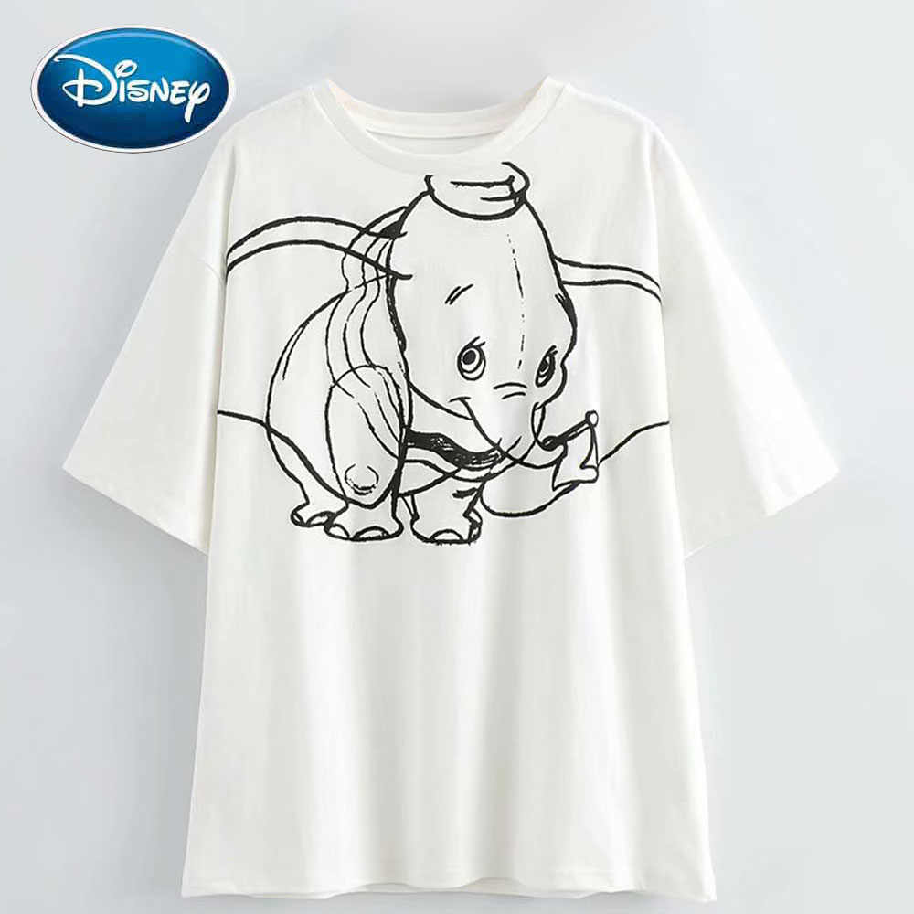 Disney Chic Fashion Schets Dumbo Olifant Cartoon Print Wit Vrouwen T-shirt Zoete O-hals Trui Korte Mouwen Losse Tee Top
