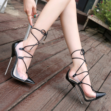 Stiletto 16cm-Heels Female Shoes Roman-Style Patent Leather Women Cross-Lace-Up Size44