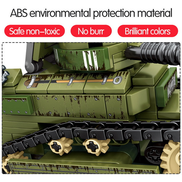 SEMBO 596PCS WW2 City Police Ambulance Model Building Blocks Military Tank War Weapon Soldier Figures Bricks Toys For Boys
