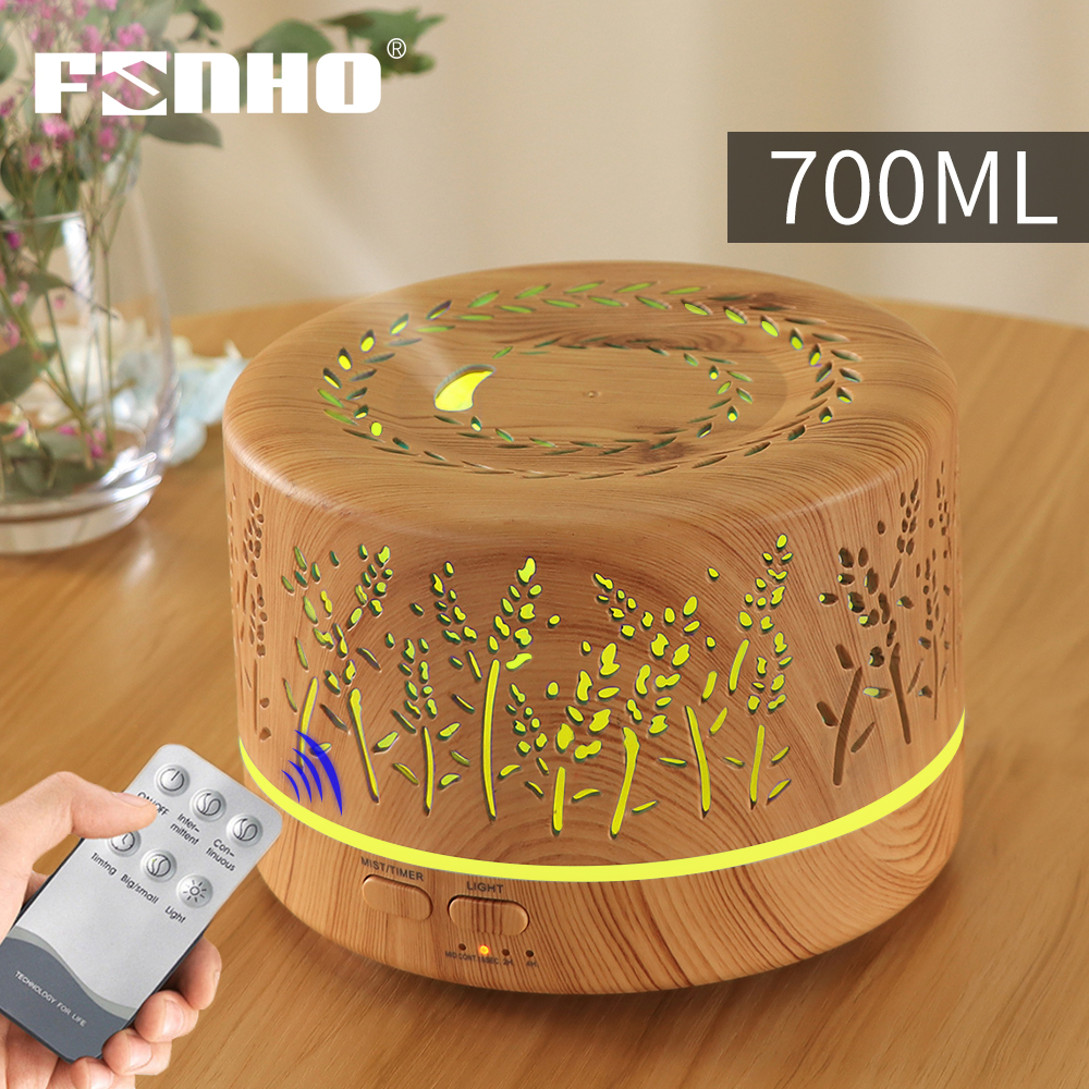 FUNHO 700ml Remote Control Ultrasonic Electric Air Humidifier  Aroma Diffuser Essential Oil Cool Mist Maker 7 LED Light Coloful