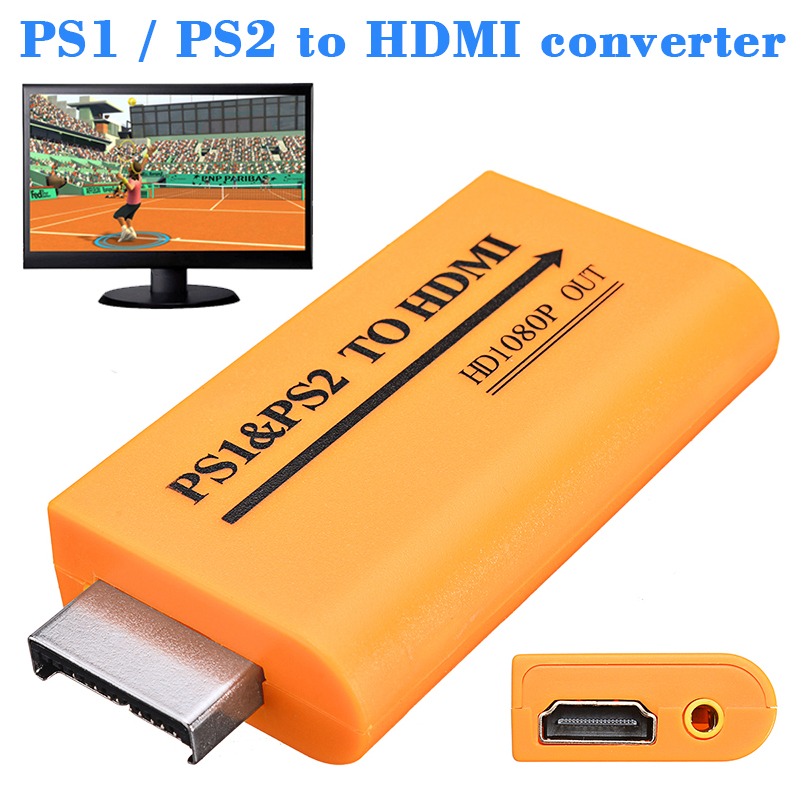 PS1 PS2 To HDMI 480i/480p/576i Audio Video Converter Adapter With 3.5mm Audio Output Supports All PS1 PS2 Display Modes