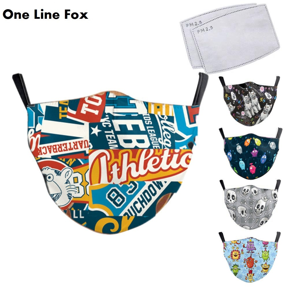OneLineFox Cute Cartoon Reusable PM2.5 Children Mouth Mask Print Face Anti Dust Pollution Mask For 3-10 Years Old Mouth Mask