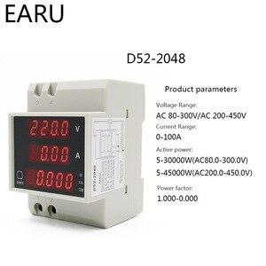 Цифровой счетчик энергии на din-рейку светодиодный коэффициент активной мощности многофункциональный измеритель мощности Вольтметр Амперметр Напряжение Ампер тестер DIY