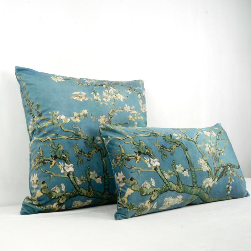 Van Gogh Almond Blossom Velvet Cushion Cover Sofa Pillow Cover Car Chair Cushion Case Double-sided Printing Without Stuffing