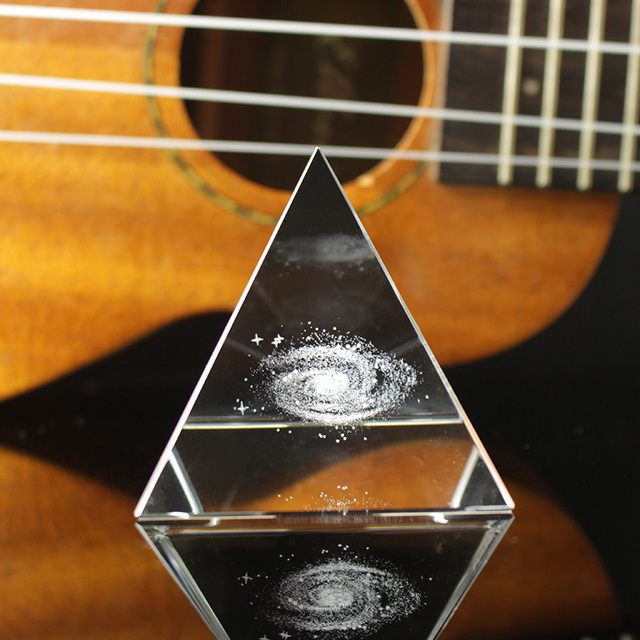 Crystal Pyramid 3D Laser Engraved Galaxy Glass Pyramid Fengshui Figurine Home Decoration Accessories for living room 2