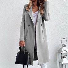 Muyogrt Women Autumn Winter Long Trench Coat Long Sleeve -Down Collar Oversize Blazer Outwear Jacket Overcoats Plus Size cheap Polyester CN(Origin) Spring Autumn Women Coat Ages 18-35 Years Old Turn-down Collar Double Breasted Regular Full Pockets