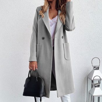 Muyogrt Women Autumn Winter Long Trench Coat Long Sleeve Turn-Down Collar Oversize Blazer Outwear Jacket Overcoats Plus Size