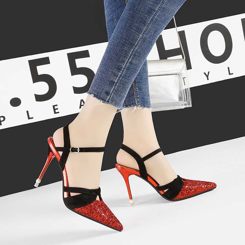zapatos mujer 2019 bling party sandals womens shoes sexy high heels chaussures femme stiletto shallow schoenen vrouw NO.55 Shoes
