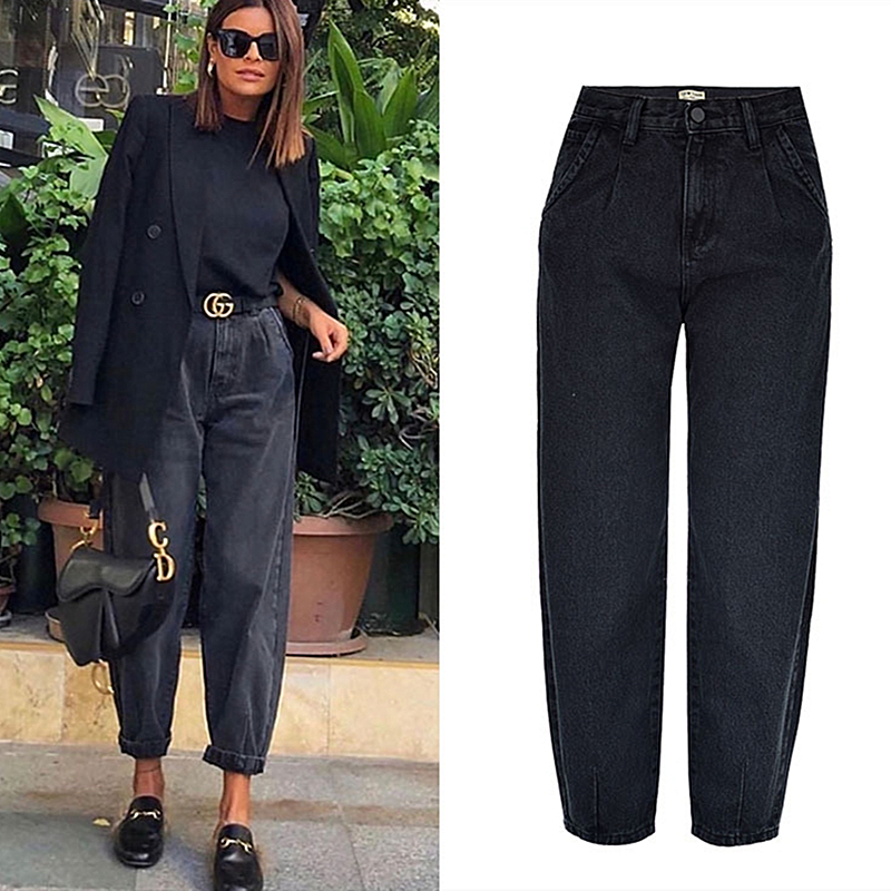 Spring Autumn Fashion Cotton Denim Jeans Women 2020 New High Waist Black Retro Harem Washed Office Lady Casual Jeans Female K344