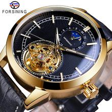 Forsining New Arrival Mens Wristwatch 2019 Top Brand Luxury Automatic Mechanical Golden Case Tourbillon Leather Strap Man Clock forsining top brand luxury mechanical watch men tourbillon small sub dials display magnet strap 2018 new fashion auto wristwatch