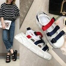 Liren 2019 Summer PU Shoes Casual Leisure Women Sandals Hook & Loop Round Open Toe Platform Flat Heels Comfortable