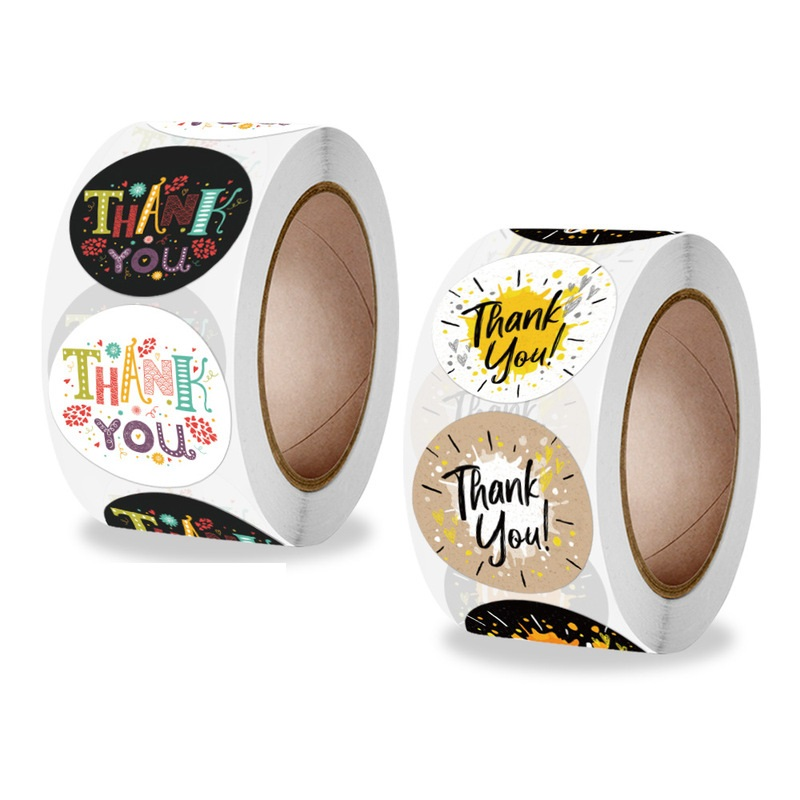 500pcs/Roll2.5cm/1inch Round New Model Thank You Sticker Wedding Gift Wrapping Label Holiday Party DIY Handmade Articles
