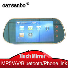 HD 7 inch TFT color Rear view Mirror Monitor with remote control Touch Button Support 2AV input SD USB Mirror link Android phone(China)