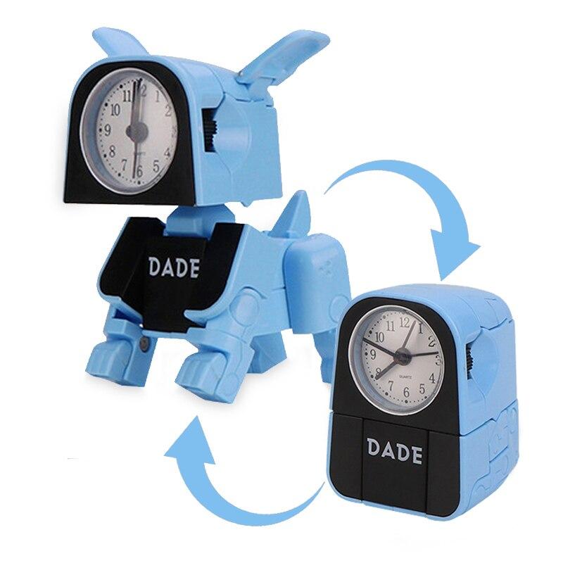 Cute Boy Kids Alarm Clock Cartoon Robot Dog Desk Clock Funny Reversible Toy Bedroom Wake Up Clock Travel Desktop Needle Clocks