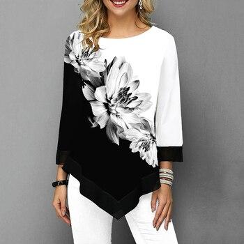Women Blouse Asymmetric Hem Ladies Blouse Shirt Flower Print Tops O Neck Blusas Plus Size Three Quarter Casual Female Camisa tassel hem blouse