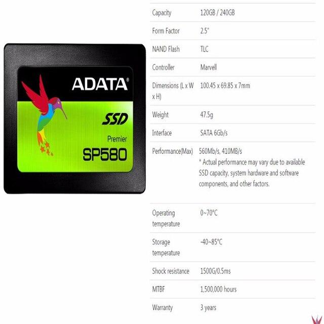Adata unidade de estado sólido, computador, 120gb 240gb 2.5 polegadas sata iii ssd hdd hd, disco rígido, notebook, pc 480gb 960gb unidade de estado sólido interno 5