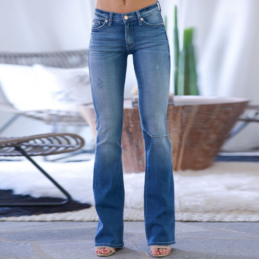 Women Mid Waisted Denim Jeans Streetwear Skim Fit Denim Pants Pocket Stretch Button Bell-Bottom Pants Jeans Plus Size