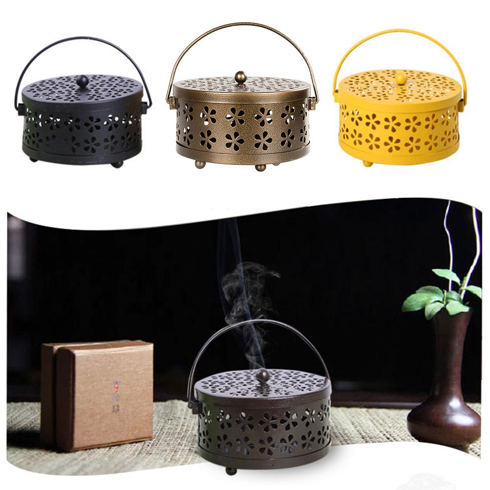 Portable Home Incense Burner Hollowed Anti Scald Durable Garden Classical With Handle Mosquito Coil Holder Metal Case Rack(China)