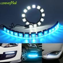 2Pcs/lot Car COB DRL Driving Fog Light Flexible Daytime Running Light For Honda/Toyota/Hyundai/VW/Kia For Mazda/Buick/Nissan