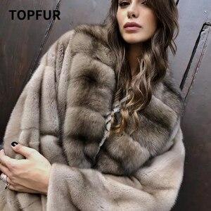 TOPFUR nuevo Real Abrigo de piel de visón Natural mujeres invierno largo Chaqueta de piel de visón largo cálido Vintage invierno abrigo Mujer