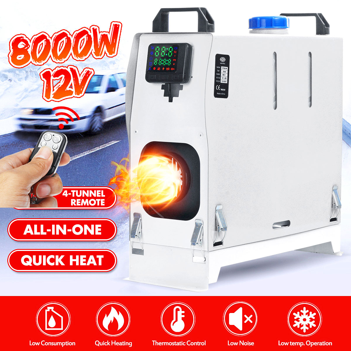 Fuel Oil Heater Car Air Heater 12V 8KW Diesel Air Heater Car Parking Heater Air Conditioner Heater Machine with Remote Control LCD Display for Truck Boat Van