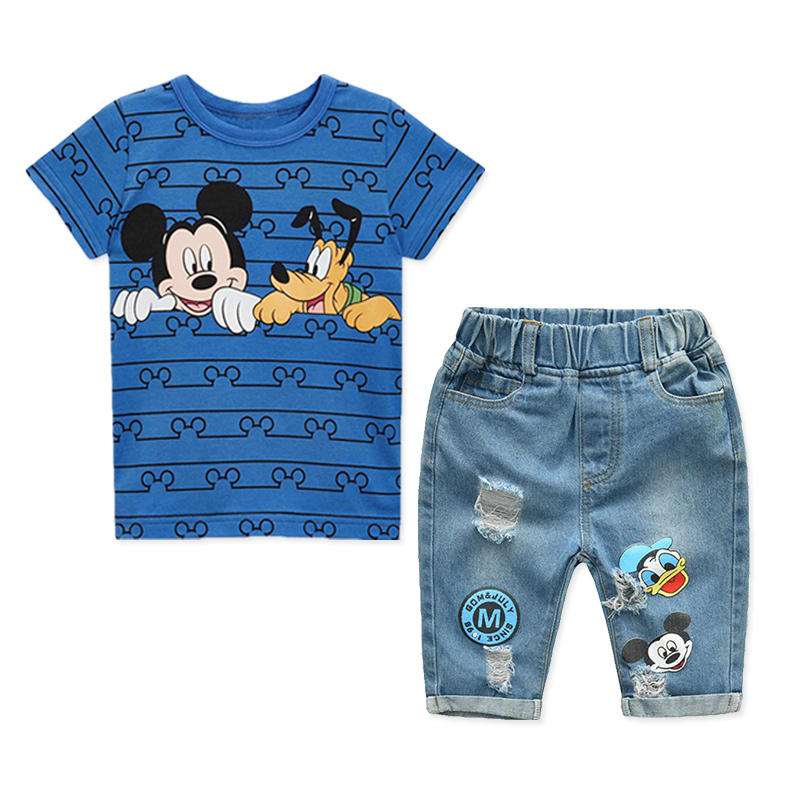 2019 夏のボーイズ服セット漫画ミッキー男の子子供半袖 Tシャツとジーンズ 2 個子供服スポーツスーツ