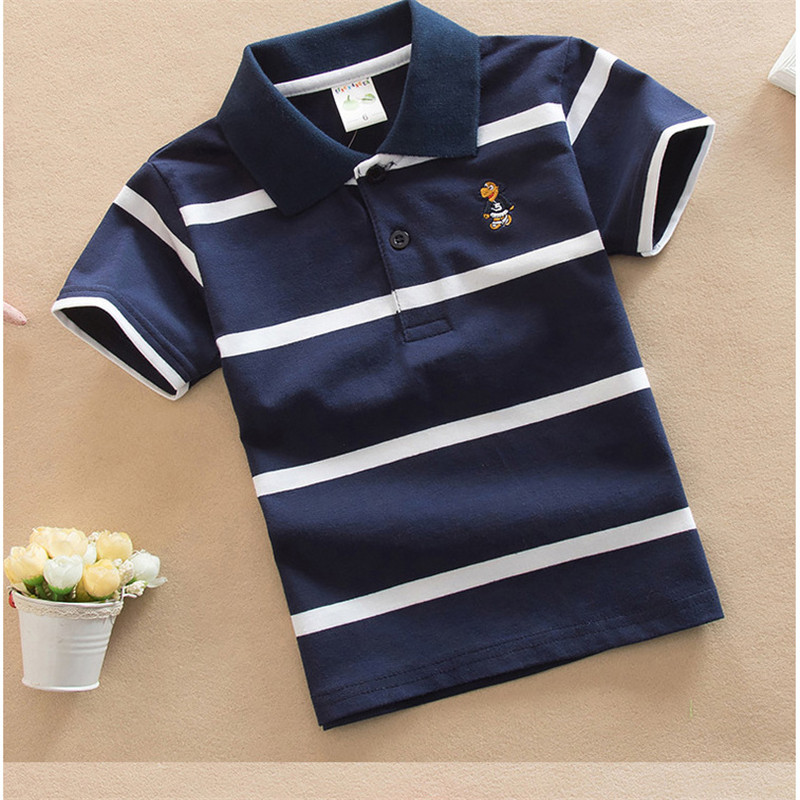Jargazol T Shirt Kids Clothes Turn-down Collar Baby Boy Summer Top Tshirt Color Stripes Vetement Enfant Fille Camisetas Fnaf 5