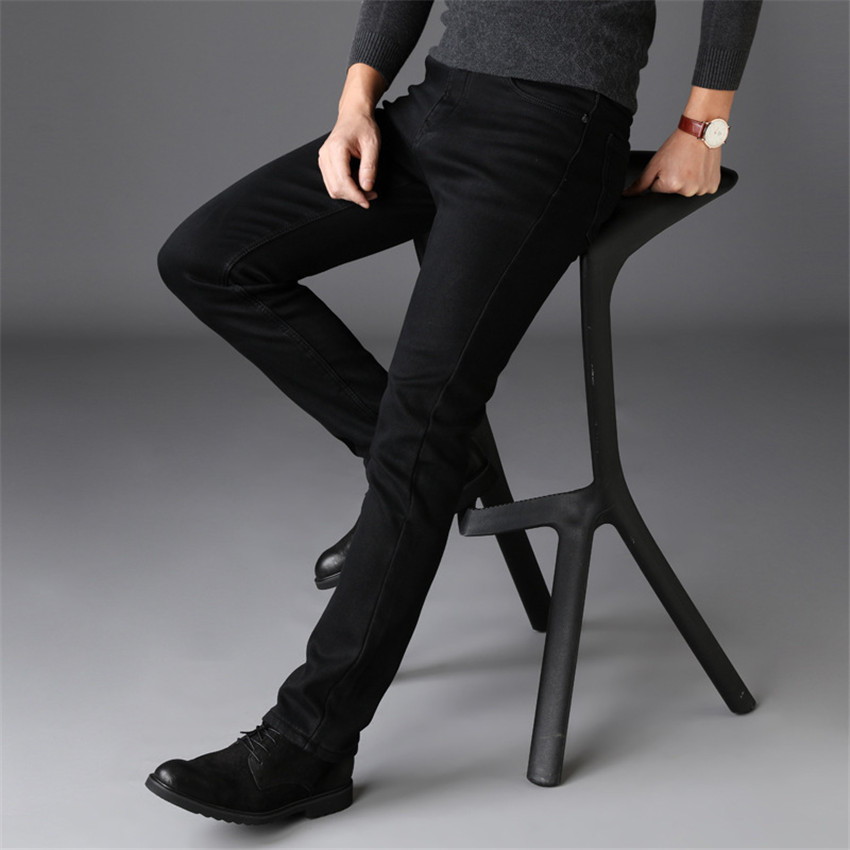Spring Men Business Casual Jeans Pure Black Straight Slim Fit Plus Size Pantalon MAGGIE'S WALKER Mid-Waist High Quality New 2020