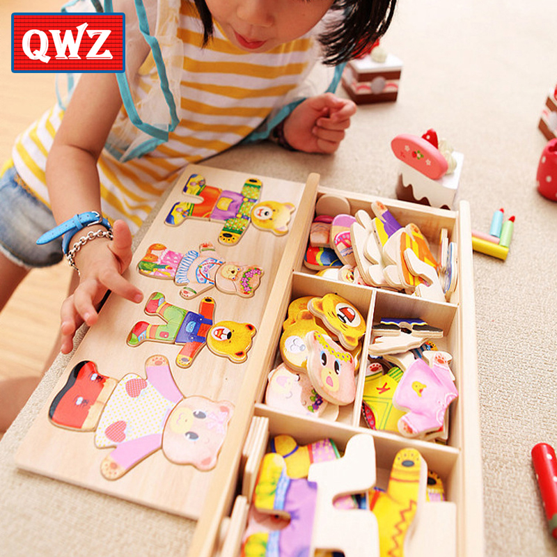 QWZ Little Bear Change Clothes Children's Early Education Wooden Jigsaw Puzzle Dressing Game Baby Puzzle Toys For Children Gift