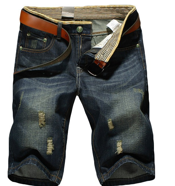 Men Summer Large Size Jeans Men's Trend With Holes Straight-Cut 5 Shorts Loose-Fit Beach Pants