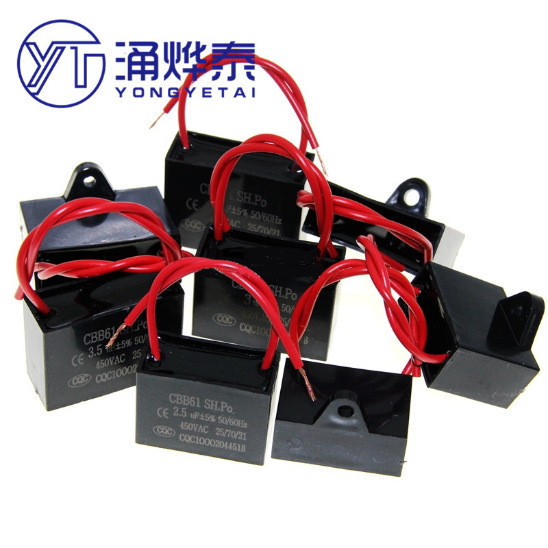 YYT CBB61 fan start capacitor 1.2/1.5/2/2.5/3/3.5/4/5/6UF Terminal Ceiling Fan Motor Running Rectangle Capacitor