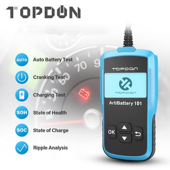 TOPDON Universal Multifunction 12V Battery Tester Car Digital Battery Analyzer Automotive Load Battery Cranking Charging Tester 12v portable car battery charging tester battery life percent analyzer for car truck boat battery system test